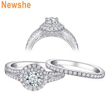 Women's White Sapphire Round Cut 925 Sterling Silver Engagement Ring Set Sz 5-12
