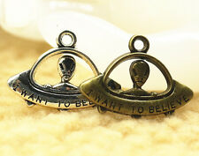 """20/200x Antique Silver/Bronze Alien UFO """"I WANT TO BELIEVE"""" Charms 30*22mm DIY"""