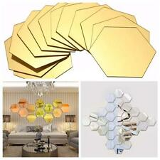 12X 3D Hexagonal Acrylic Mirror Wall Decals Decor Vinyl Art DIY Stickers Home GL