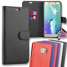 Premium Leather Flip Wallet Case Cover for Samsung Galaxy S7 Edge + Mini Stylus