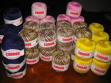 CANNON Size 8 Cotton CROCHET THREAD 9x175m NAVY/PINK/YELLOW Mix, Select Combo