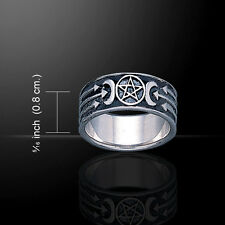 Pentagram Pentacle Crescent Moon .925 Sterling Silver Ring by Peter Stone