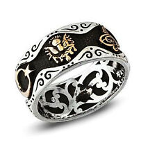 Men's Sterling Silver Turkish Ring Band Tughra, Crescent & Ottoman Coat of Arms
