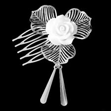 Jade Ball 3D Carved Flowers Hair Pin & White Artificial Flower Hair Comb Set