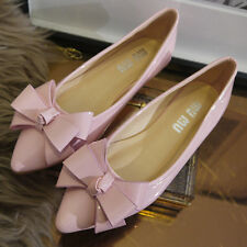 Women Fashion Patent Leather Bowknot Ballet Flats Shoes Pointy Toe Casual Shoes