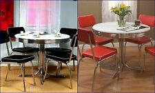 50`s Dining Set Retro Vintage Table 4 Chairs Chrome Kitchen Dinette Diner Metal