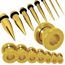 Set or Single Flesh Tunnel Plug Piercing and Taper Colour Gold