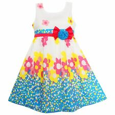 Girls Dress Flower Print Dot Bow Party Casual Princess Kids Clothes SZ 4-12 NWT