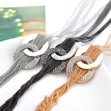 Long Tassel Necklace Gold Plated Sweater Crystal Chain Statement Necklace Beauty