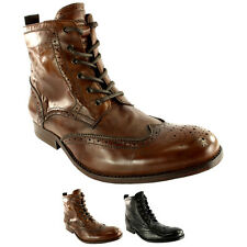 Mens H By Hudson Angus Brogue Leather Lace Up Smart Ankle Boots New All Sizes