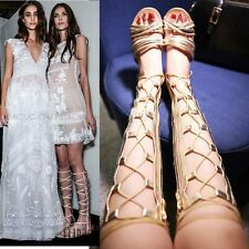 Womens Strappy Roman Gladiator Knee High Sandals Boots Flat Heel Summer Shoes
