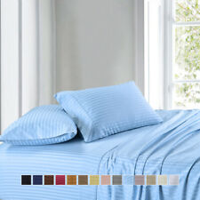 300 Thread Count Stripe Sheet Set Combed Cotton Bed Sheet set-Deep Pocket
