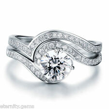 LUXURIOUS Simulated NSCD  1.25 CT Diamond Ring SET Solitaire Engagement Wedding