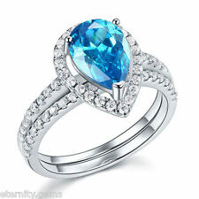 LUXURIOUS BLUE NSCD Simulated 2 Carat Pear Cut Diamond Ring Engagement Wedding