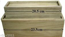 6 X PLAIN WOODEN PENCIL BOX WITH SLIDING LID SET OF  CRAFT SCHOOL FUND RAISING