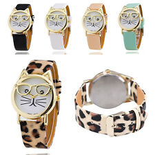 Cartoon Cat Watch With Glasses Fashion Women's Quartz Watches Leather Strap Hot