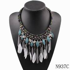 new feather necklace for women autumn rope chain vintage alloy pendant necklace