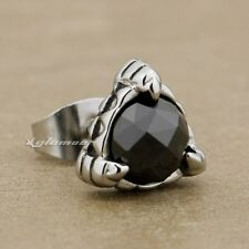 Solid 316L Stainless Steel Black CZ Stone Claw Fashion Stud Earring 4X019D