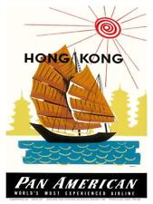Hong Kong, China Pan Am American Traditional Sail Boat and Temples Art Print by
