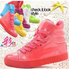 NEW Candy Color lady womens Patent Leather High Top Casual Sneakers Sports Shoes