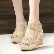 Summer Style Wedge Sandals Women Ladies High Platform Open Toe Ankle Strap Shoes