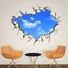 Fresh Blue Sky Cloud Ceiling Background Removable Wall Stickers Papers Decals