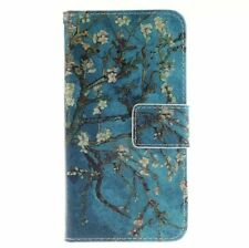 Blue Almond Tree Leather Wallet Case Flip Cover Folio Card Slot Phone Kickstand
