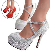 Womens Glitter Rhinestone High Stilettos Platform Heels Wedding Party Prom Shoes