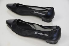 NEW MANOLO BLAHNIK black Leather and Mesh skimmers Flats shoes 37