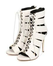New Women Miss L Rebel Leatherette Peep Toe Elastic Corset Gladiator Heel Sandal