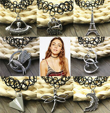 Fashion Handmade Tattoo Choker Necklace Tibet Silver Pendant Punk Elastic 90s