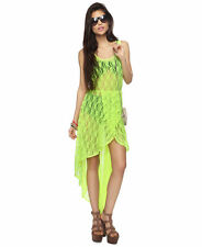 Forever 21 Neon Yellow Green Hi High Lo Low Sheer Swimsuit Cover Up Lace Dress