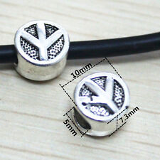 20x Tibet Silver Peace Sign Charms DIY large hole Bead Fit Bracelet 10mm N17