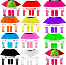 New Fancy Dress Hen Party 1980s Neon Uv Tutu Fishnet Skirt With Complete Set