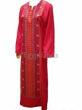SALE Egyptian Cotton Embroidered Galabeya Abaya Islamic Pink Jilbab Kaftan