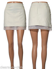 Leather skirt white organza hem mini lined by Boutique UK size 4 6 8 10 12