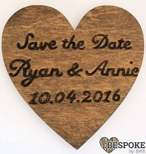 Personalised Wooden Save The Date Wedding Heart Fridge Magnet Favour Keepsake