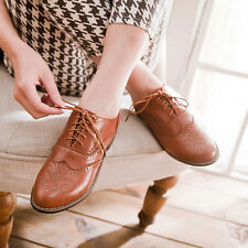 Womens Oxford Brogue Pumps Lolita Mary Jane Wingtip Lace Up New Shoes All AU Sz