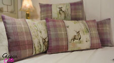 Voyage Enchanted Forest Handmade Cushion Cover Moon Wool Tartan deer stag lilac