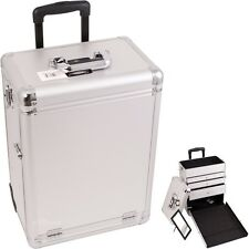 Pro Aluminum Rolling Artist Cosmetic Makeup Train Beauty Drawer Case- Silver Dot