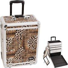 Pro Aluminum Rolling Artist Cosmetic Makeup Train Beauty Drawer Case - Leopard