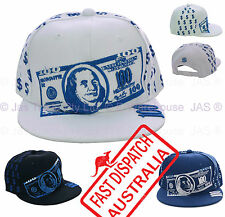 Snapback Snap Back Hip Hop Flat Peak Brim Baseball Cap Hat American Dollar Note
