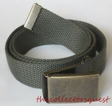 NEW BRASS FLIP TOP ADJUSTABLE OLIVE CANVAS MILITARY GOLF WEB UNIFORM BELT BUCKLE