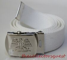 NEW EAGLE ADJUSTABLE WHITE CANVAS MILITARY GOLF WEB UNIFORM BELT CHROME BUCKLE