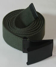 NEW FLIP ADJUSTABLE WEB OLIVE GREEN CANVAS BLACK BELT BUCKLE for MILITARY GOLF