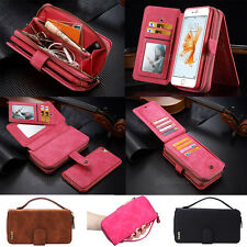 For iPhone & Samsung Luxury PU Leather Purse Zipper Wallet Case Card Cash Holder