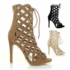 NEW! WOMENS LADIES HIGH HEEL LACE UP GHILLIE ZIP PEEP TOE ANKLE BOOTS SHOES SIZE