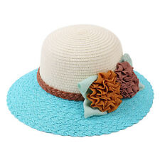 Beautiful Womens Girl Flowers Brim Straw Cap Summer Beach Sun Hat Fashion New