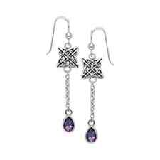 Celtic Quaternary Knot .925 Sterling Silver Earrings Choice of Gem Peter Stone