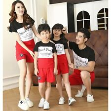 Summer Men Women Boy Girl Cotton Family Outfits T-shirt+Shorts Pants Clothes Set